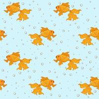 Seamless pattern with goldfishes and bubble on blue background. vector