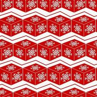 Seamless winter red pattern. Snowflakes on cube. Geometric pattern on Christmas. vector