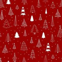 Seamless pattern with different Christmas trees on red background. Can be used  for fabric, phone case and wrapping paper. vector