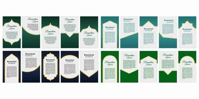 Creative decorated social media stories post. Ramadan Kareem, Happy EId Mubarak. Muslim people celebration Vector illustration for ads, headers, banners or post for muslim community festival