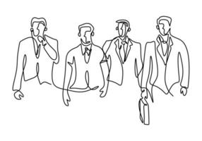 One continuous line drawing of businessman standing with confident pose. A young businessman is looking ahead the optimistic symbol of success isolated on white background. Vector illustration