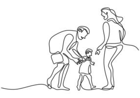 Continuous one line drawing of happy family father, mother and their child playing together at home field isolated on white background. Happy family parenting concept. Vector illustration