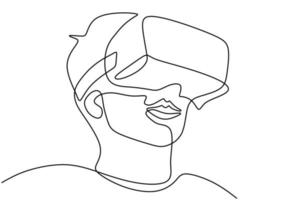 Young man wearing VR glasses one continuous line drawing. A young man uses glasses device virtual reality when playing games at home hand drawn line art minimalism style. Vector illustration