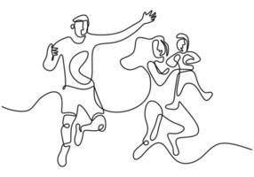 Continuous one line drawing of happy family father, mother and their child playing and jumping together to express their happiness. Happy family parenting concept. Vector illustration