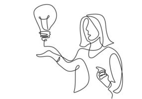 One single line drawing of young businesswoman presenting new idea for next project while showing a bulb lamp. Think big, point to idea concept. Effective training presentation in minimalist style vector