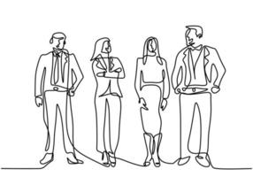 Continuous line drawing of business people standing with gentle and confident pose. Character professional office workers team. Vector illustration simplicity style of businessman and businesswoman.