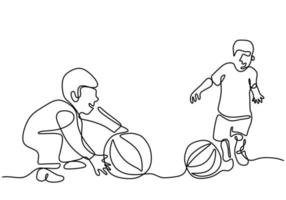 Two little boy playing together one continuous line drawing vector illustration isolated on white background. Happy children playing ball at field. Play fun ideas in minimalist design concept