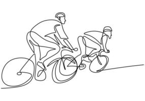 One continuous line drawing of young energetic man bicycle racer race at cycling track. Racing cyclist concept. Hand draw design for cycling tournament banner minimalist style. Vector illustration