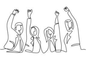 Continuous line drawing of office worker hands up and jumping happy. Young businessman and businesswoman expresses about success with new projects hand-drawn minimalism style. Vector illustration