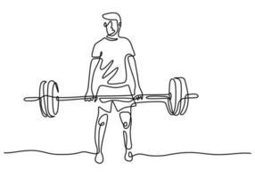 una línea de levantador de pesas dibujada continua de la mano una imagen de la silueta. concepto de entrenamiento de levantamiento de pesas. Personaje atleta masculino levantando barra aislado sobre fondo blanco. vector
