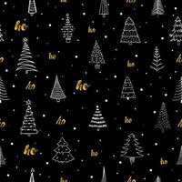 Seamless pattern with different Christmas trees and  gold ho-ho. Black liner rough hand drawing. Can be used  for fabric, phone case and wrapping paper. vector