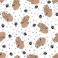 Seamless pattern with leopard head vector