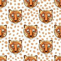 Seamless pattern with tiger heads. Print for fabric kids. vector