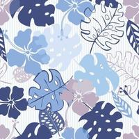 Seamless pattern with tropical flowers and leaves. Print for fabric and element design. vector