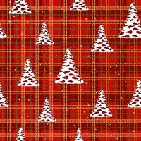 Seamless Christmas pattern - trees with stars on red cell background . Vector design for fabric and kitchen textil.
