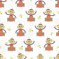 Seamless pattern with funny robots, gears and lamp . Print for fabric, wrapping paper and cover. vector