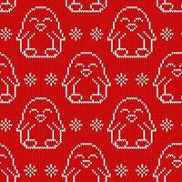 Seamless knitted pattern witn white penguin. Christmas print for wrapping papper, fabric and web. vector
