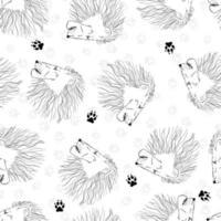 Seamless lion head. Funny kids print. vector