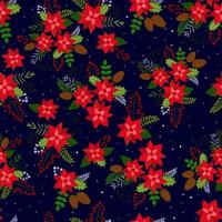 Seamless Christmas Background with poinsettia red, pine cone, rowan berries and snow. Vector background for fabric, wrapping paper and holiday textile.