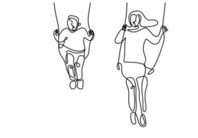 Continuous one line drawing of mother and her son sitting and playing swinging. Happy young mommy playing together with her little boy at the playground hand draw contour with minimalism design vector