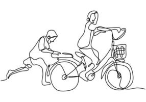 One continuous drawn line of a son teaches his sister to ride a bicycle. Young sister and brother playing a bicycle isolated on white background. Happy family concept. Vector illustration