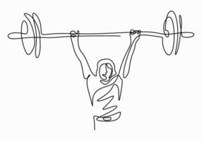 Dibujo de línea continua de mujer joven fuerte levantador de pesas preparándose para entrenamiento con barra en el gimnasio aislado sobre fondo blanco. concepto de entrenamiento de levantamiento de pesas. personaje dama haciendo ejercicio vector