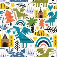 lindo, libélula, dinosaurio, monstruo, seamless, patrón. Ilustración de vector de dinosaurios coloridos divertidos sobre fondo blanco. un concepto de animales de cuento de hadas. telón de fondo para textil, tela y vivero.