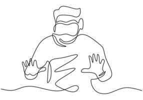 Man in glasses device virtual reality continuous one line drawing. A guy pretending to touch button while wearing virtual reality helmet isolated on white background. Vector illustration
