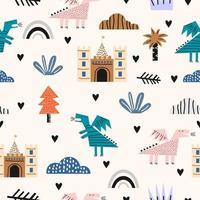 lindos dinosaurios divertidos niños libélula con castillo, palmera, arco iris y nubes de patrones sin fisuras. perfecto para ropa infantil, telas, textiles, decoración de guardería, papel de regalo. ilustración vectorial vector