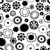 patrón transparente con engranajes negros. impresión monocromática. vector