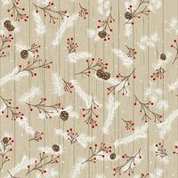 Christmas design with pine branches and cones on the background of wooden boards. Mountain ash branches with snowflakes. vector
