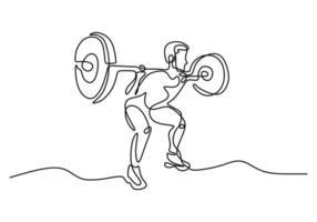 un solo dibujo de línea del joven deportista que entrena la barra de elevación en el press de banca en el gimnasio del centro del club deportivo. concepto de estiramiento de fitness aislado sobre fondo blanco. ilustración vectorial vector