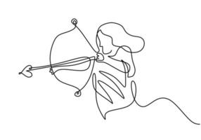 One continuous line drawing of young energetic archer woman pulling the bow to shooting an archery target. Professional archer female focus to hit target hand drawn with minimalist design vector