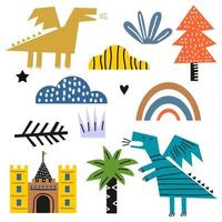 Cute happy monster set. Cute dragonfly dinosaur cartoon character with castle,  clouds, tree and rainbow for kids fairytale dino illustration isolated on white background. Vector illustration