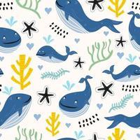ballenas de patrones sin fisuras con algas y arrecifes de coral. ballenas infantiles lindas coloreadas dibujadas a mano en el mar. concepto de animales del océano. textura infantil para tela, textil, ropa. ilustración vectorial vector