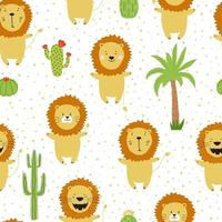 Seamless pattern with funny lion cubs from Africa with palm trees and cacti. Print for kids clothes and textil. vector
