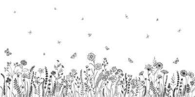 Wildflowers and various insects. Fashion sketch for various design ideas. Monochrome print. vector