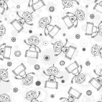 patrón sin fisuras con divertidos robots y engranajes. impresión para tela, papel de regalo y funda. vector