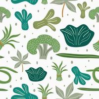 Fresh vegetables flat hand drawn seamless pattern. Healthy nutrition organic food isolated on white background. Healthy lifestyle concept. Kitchen textile, background vector fill