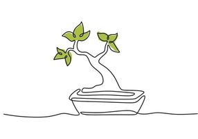 Continuous line drawing of nature bonsai tree in pot isolated on white background. Beauty and fresh Chinese or Japanese banyan plant for home art wall decor. Botanical houseplant theme vector