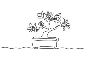 A bonsai tree in pot one continuous line drawing vector isolated on white background with minimal design. Decorative old miniature plants for home interior design. Houseplant concept