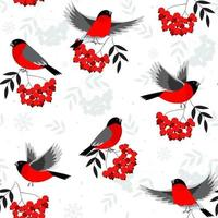 Christmas seamless pattern with rowan berry and bird on blue background. Vector background for fabric, wrapping paper and greeting card