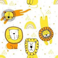 leones divertidos sin fisuras dibujo con puntos y estrellas. impresión para el diseño gráfico textil de la camiseta. colección linda ilustración de leones para niños. vector