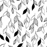 Simple stylish seamless hand made pattern. Seamless pattern with black and white leaves. vector