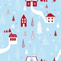 Funny seamless vector pattern with houses, snowflakes and Christmas tree. Can be used  for fabric, phone case and wrapping paper.