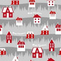 Cute Christmas pattern, Scandinavian red houses. Vector illustration for cover, card, textile and interior design, wrapping paper for New Year.