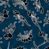 Dinosaur skeleton. Vector seamless pattern. Original design with dinosaur bones. Blue background dinosaur for textile, clothes and wrapping paper.