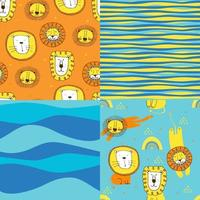 Set of cute seamless patterns in kids style. Colorful vector illustration with lions, stars and strips.  Funny vector seamless pattern for stylish fabric design, paper, web.