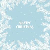 Pine branch with cones under the snowfall. Vector Christmas greeting card. For Christmas decoration, posters, banners, sales and other winter events.