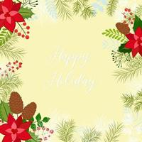 Greeting Christmas card. Vector frame with pine branches, cones, berries, holly and mistletoe. For Christmas decoration, posters, banners, sales and other winter events.